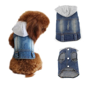 Denim Doggo Vest with Grey Hood