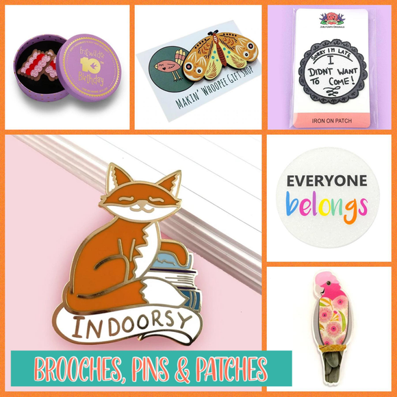 BROOCHES, PINS & PATCHES