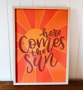 "THE OOPSY DAISY CO - ""HERE COMES THE SUN"" A3 PRINT IN ORANGE"