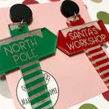 MAKIN' WHOOPEE - MISMATCHED CHRISTMAS SIGNS STUD DANGLE EARRINGS- MATTE BLACK TOPS