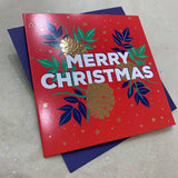 CANDLE BARK CREATIONS - SMALL SINGLE SQUARE CHRISTMAS CARD- MERRY PINE CONES