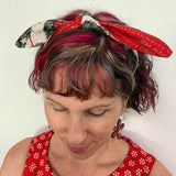 SEW HOT RIGHT NOW - Christmas Wreaths / Festive Pattern Tie-up Christmas Headband - DOUBLE SIDED