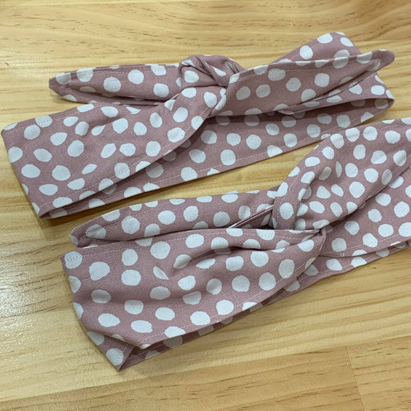 OH SEW ROSY: WIRE HEADBAND - DUSTY PINK & WHITE SPOT