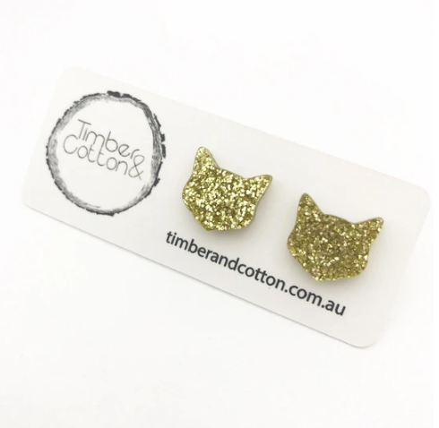 TIMBER & COTTON - Cat Face Studs - Gold Glitter