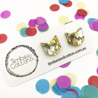 TIMBER & COTTON - Cat Face Studs - Gold & Silver Flake Glitter