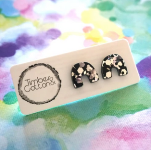 TIMBER & COTTON - Arch Studs - Black & Silver Flake