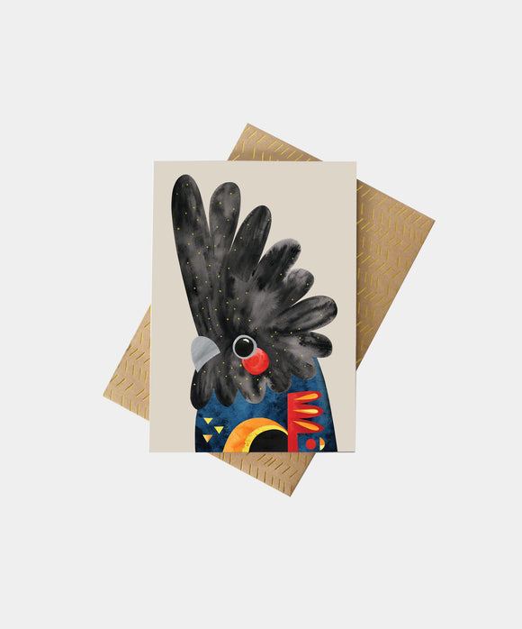 PETE CROMER - BLACK COCKATOO GREETING CARD
