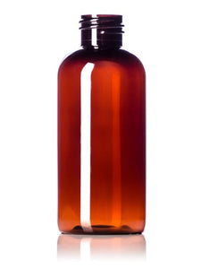 Plastic Amber PET Boston Round Bottles - 120 ml - 4oz - Essentially You Oils - Ottawa Canada