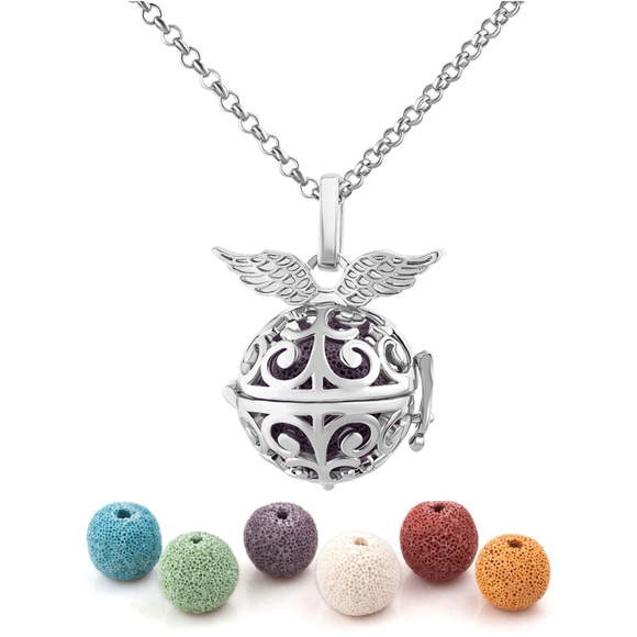 Natural Lava Rock Essential Oil Diffuser Necklace Angel Wings - Essentially You Oils