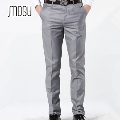 MOGU 2017 New Casual Dress Pants For Men 7 Colors Slim Men Dress Pants Red Mens Elastic Waist Dress Pants Skinny Casual Trousers