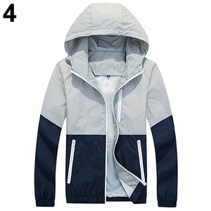 Fashion Men's Zip Up Hooded Jacket Summer Casual Sportwear Windbreaker