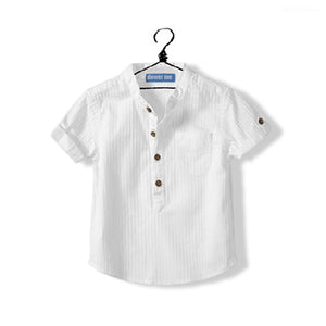 Hot New 2017 Summer Toddler Clothing Baby Boys White Shirt Cotton Short Sleeve Mandarin Collar 2-14 Years Old Children Kids Tops