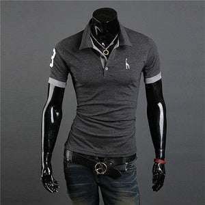 Men Casual Tops Tee V Neck Solid Polo Shirts Slim Fit Short Sleeve Summer Style Hot