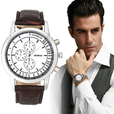 Brand Geneva Men Business Design Men's Watch Clock Dial Leather Band Analog Quartz Wrist Watch erkek kol saati Saat Erkekler
