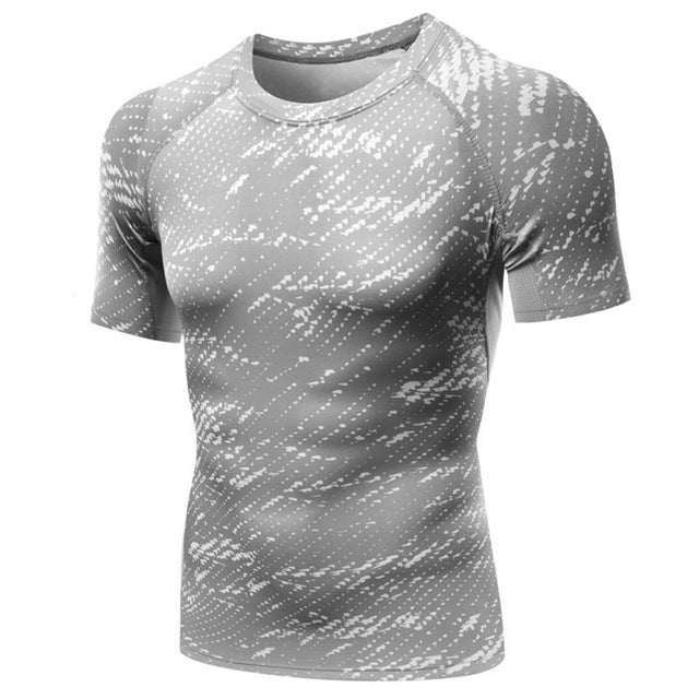 Fashion Men Short Sleeve Exercise T Shirt Casual Print Thermal Muscle Bodybuilding Compression Tights Shirt