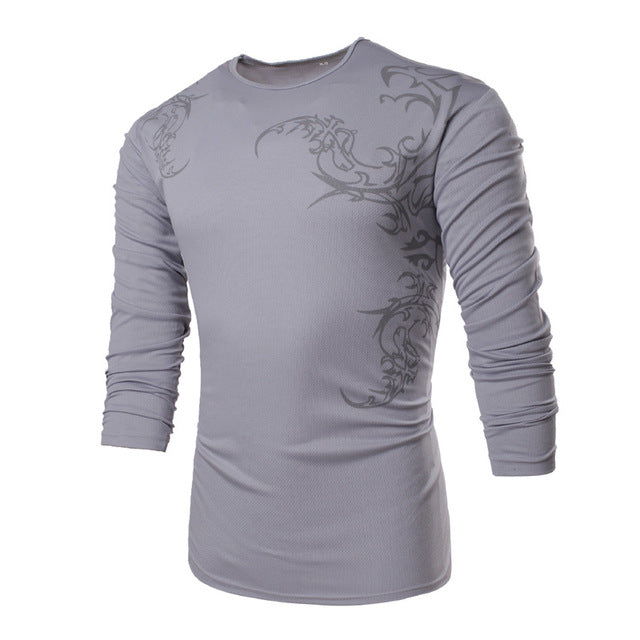 New Fashion Chinese Element Totems Print T-Shirt Men's Casual Slim Fit Stylish T Shirt long Sleeve o-neck Tops TX71 C