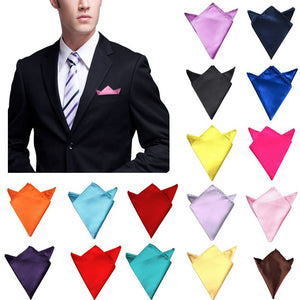 New 26 Colors Men's Hanky Satin Solid Plain Suits Pocket Square Wedding Party Handkerchief