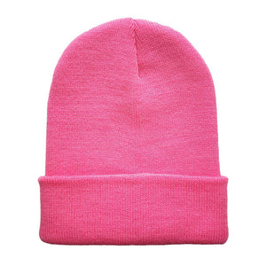 Hot Sale Woman's Warm Woolen Winter Hats Knitted Fluo Hats for Men Gorro Beanie Candy Black Navy Pink In 24 Colors