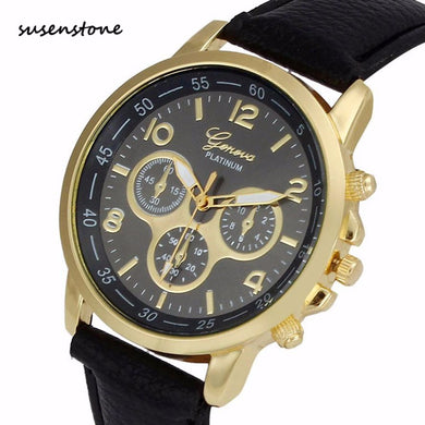 Susenstone 2017 Men Fashion Casual Watch Luxury Leather Belt Quartz Wrist Watch Men Business Sports Clock Relogio Masculino 50