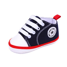 Infant Toddler Kids Canvas Sneakers Baby Boys Girls Anti-slip Soft Sole Crib Shoes Newborn Soccer Print Baby Prewalker 5 Colors