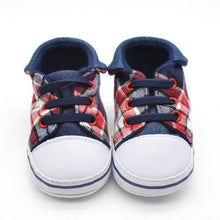 1Pair Baby Infant Kid Boy Girl Soft  Plaid Toddler shoes Sole Sneaker Toddler Twill fabric Shoes
