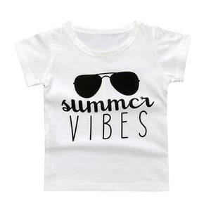2017 kids T-shirts Tops boys Summer Sunglasses print letter Kids Tee Graphic Tee Gift baby T-shirts for girls sports short tees