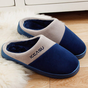 Gentlemen plush slippers plus size 40-45 men's indoor home slippers winter warm shoes adult solid black male slippers