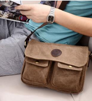 Retro canvas shoulder bag Messenger bag Korean tide package men bag