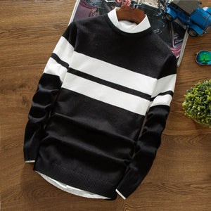 Fall 2017 new men sweater Long sleeve creative thin striped sweater