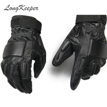 LongKeeper Original  Genuine Leather Brand Tactical Gloves Airsoft Military Paintball Outdoor Full Finger Motocycle Mittens