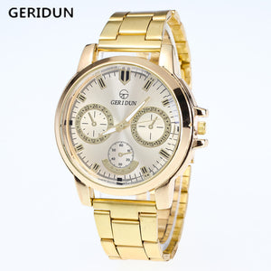 GERIDUN Mens Gold Watch Brand Men Watches Luxury Sport Quartz Watch Men Watches Stainless Steel Wristwatches Relogio Masculino