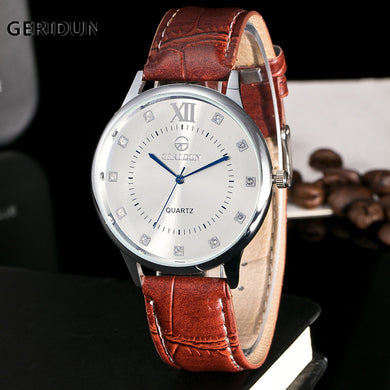 GERIDUN Men's Watch Fashion Faux Leather Blue Ray Glass Quartz Men Wrist Watch Clock Hours Men's Watches Relogio Masculino 2017