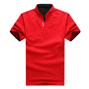 High Quality Summer Mens Casual Slim Mandarin Collar Cotton Short Sleeve Shirt Clothing
