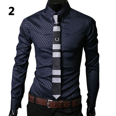 Fashion Men Argyle Luxury Business Style Slim Fit Long Sleeve Casual Dress Shirt