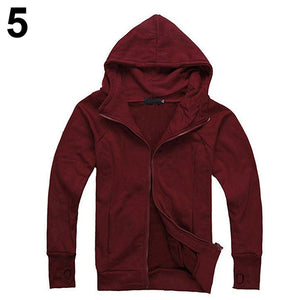 Men's Solid Color Gloves Long Sleeved Hooded Cardigan Outwear
