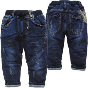 4073 kids very warm winter baby jeans denim pants thick cotton-padded baby boys & gilrs  trousers navy blue fashion new