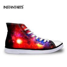 INSTANTARTS Universe Planets Printing Men's High Top Canvas Shoes Fashion Galaxy Stars Lace Up Vulcanize Shoes Male Casual Flats