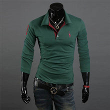 Handsome Lapel Gentleman Polo Shirt Long Sleeve Slim Fitness V Neck Shirts Casual Tee Man Tops Plus Size M-XXXL 10 Colors