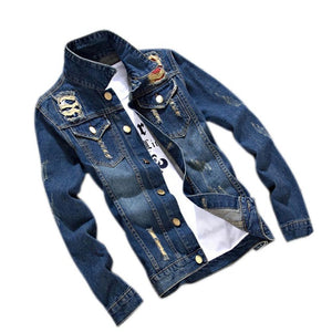 Fashion Vintage Spring Autumn Men Jeans Jacket Long Sleeve Patchwork Denim Jackets Coat Man Outwear M-3XL JL