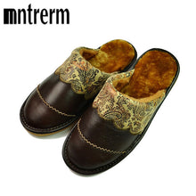 Mntrerm 2017 Real Leather Autumn Winter Men Shoes Warm Breathable Home House Indoor Spring Slippers For Men And Large Size