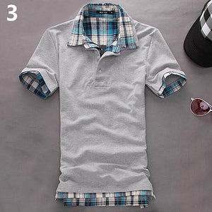 Men Casual Double-Layer False Two Pieces Cotton Short Sleeve Pullover Polo Shirt Summer Discount Summer Discount