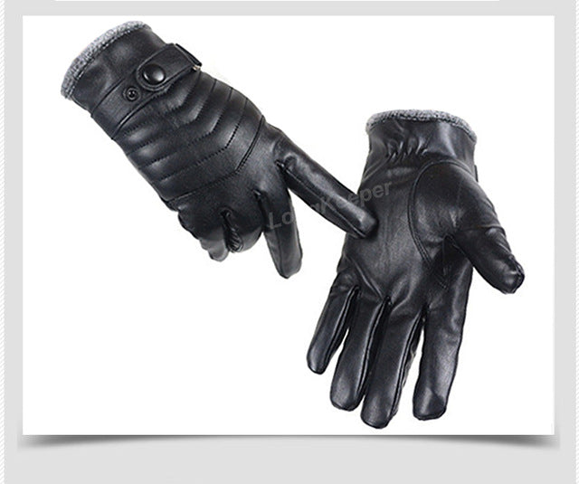 LongKeeper Hot Sale Men Sheepskin Gloves Genuine Leather Glove For Men Winter Outdoor Warm Fur Thickening Thermal Driving G287