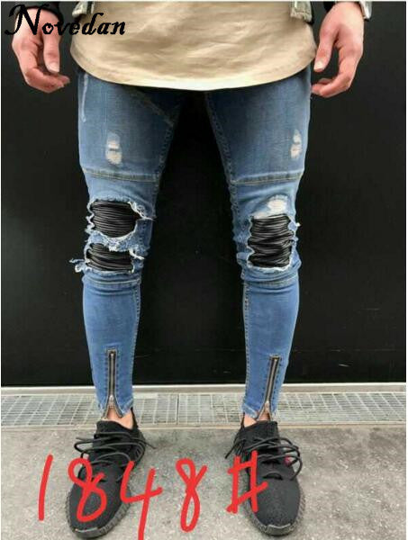Hip Hop Men Jeans Casual Denim Distressed Masculina Men's Slim Jeans Pants Brand Biker Jeans Rock Skinny Ripped Jeans Homme