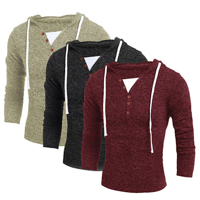 items! Men's Casual False-two Knitwear Long Sleeve Strap Button Pullover Sweater