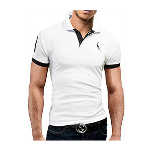 UniqStore Summer Mens Polo Shirt Short Sleeve Deer Embroidery Printing Men Slim Casual Cozy Tees M-3XL Solid Homme Top Clothing