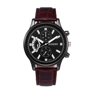 Best Gift Retro Design Leather Band Watch Men Analog Alloy Quartz Wrist Watch Watches Luxury Male Hour Relogios Masculino A4