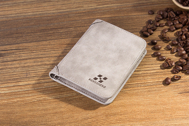 2018 New High quality men's retro matte PU leather men Wallets Wholesale short leather wallets card holders purse for men