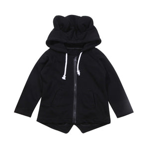 Fashion Baby Boy Girl Kids 3D Bear Coat Outerwear Autumn Winter Black Wind Hooded Jacket Toddler Boys Girls Tops