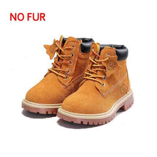 GENKNK Autumn Winter Fashion Martin Boots for Children Genuine Leather Shoes Baby Girls Red Boots Boys Blue Ankle Boots Plush