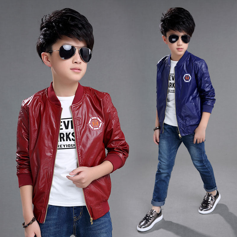 Boys Coat The Spring and Autumn New Leather Jacket Cuhk Children's Coat Baby Clothes 3 Colors 4-14 Ages